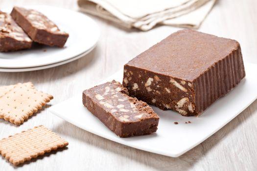 Homemade chocolate and petit beurre cookies cake