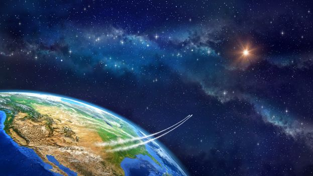Very high definition picture of planet earth in outer space. Spacecrafts lifting off from USA soil. Elements of this image furnished by NASA