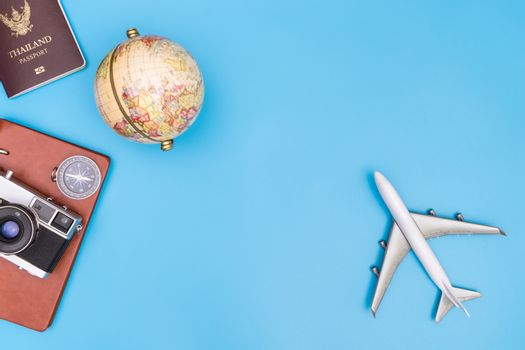 World travel object on blue background for travel concept