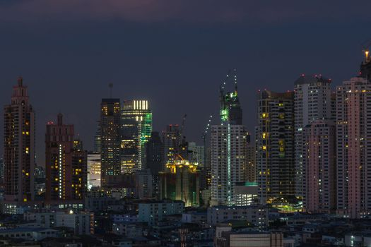 Nighttime of Bangkok city. Bangkok is the capital and the most populous city of Thailand.