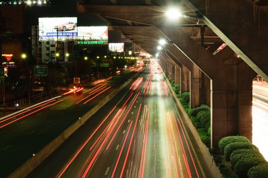 Bangkok, Thailand - June 6, 2015 : Nighttime of Bangkok city. Bangkok is the capital and the most populous city of Thailand.