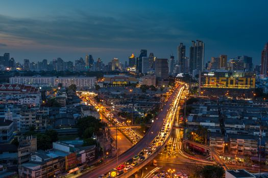 Bangkok, Thailand - May 18, 2016 : Nighttime of Bangkok city. Bangkok is the capital and the most populous city of Thailand.