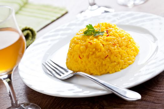 Gourmet risotto with fresh saffron and parsley