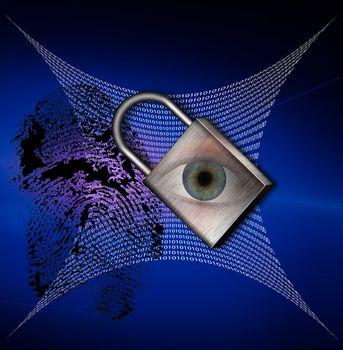 Pad lock with fingerprint and binary code web