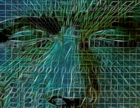 Abstract man face. Mind Technology