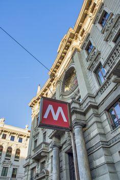 Metro subway transportation symbol in Milan, Italy.