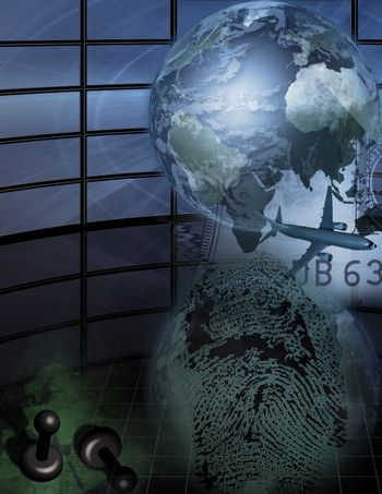 Complex picture. Globe and plane represents traveling. Finger print. Pins on a world map.