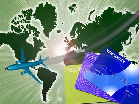 Air Travel and Vacation Concept. Earth man with jet and credit cards