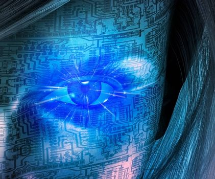 Technology Human. Woman with circuit board pattern