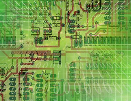Circuit Technology. Binary code stream