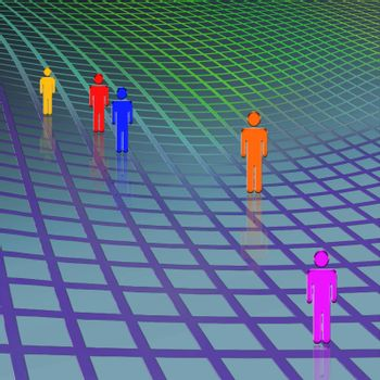 Flat people. Colorful silhouettes. 3D rendering
