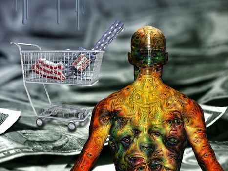 Gun in a cart. US dollars. Man's body with weird eyes. 3D rendering