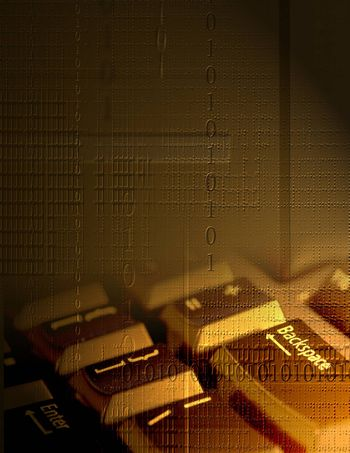 Circuit Technology. Binary code and keyboard. 3D rendering