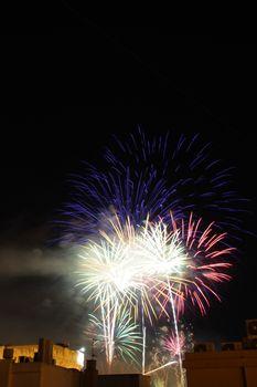 Fireworks in Elche, Spain, for the festivities in August