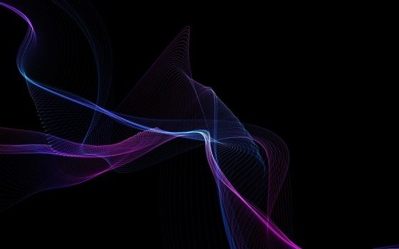 Dark abstract background with a glowing abstract waves, abstract background