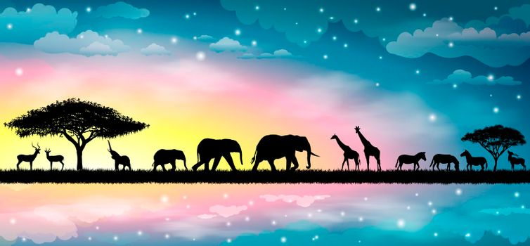 Silhouettes of wild animals of the African savannah. Beautiful sunset. Sky, stars, clouds.
