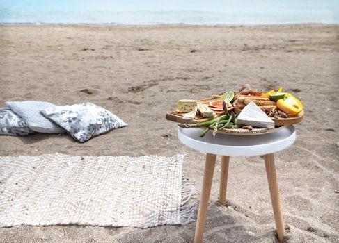 Romantic picnic near the sea. Vacation and romance concept.