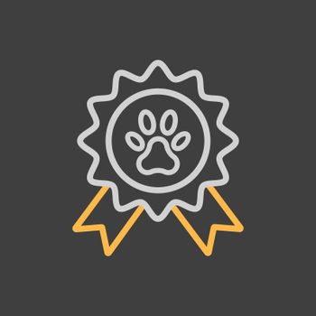 Pets award rosette vector icon on dark background. Pet animal sign. Graph symbol for pet and veterinary web site and apps design, logo, app, UI