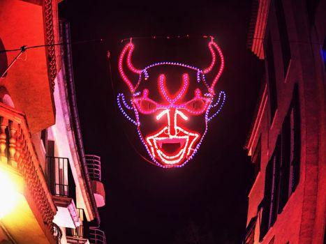 Devilish decoration  in Palma city during saint sebastian local patron festivities.