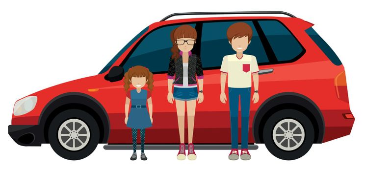 Illustration of a family in front of a SUV