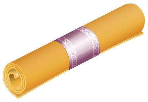Roll of yellow yoga mat