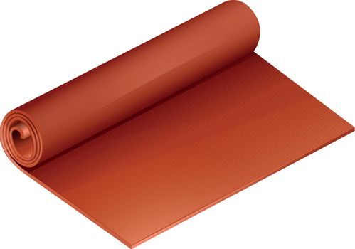 Rolled orange yoga mat on a white background