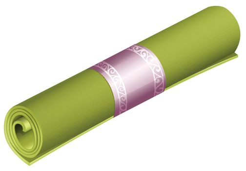 Green rolled yoga mat on white background