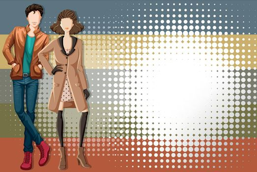 Fashion design for man and woman with abstract background