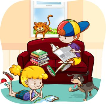 Boy and a girl reading books and newspaper with pets walking around