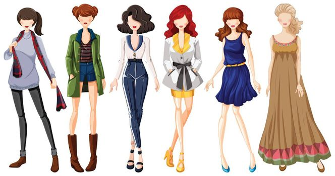Female models wearing dresses and jeans