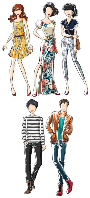 Sketch of male and female in fashionable clothes