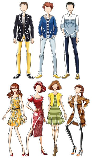 Sketch of collection of male and female clothing