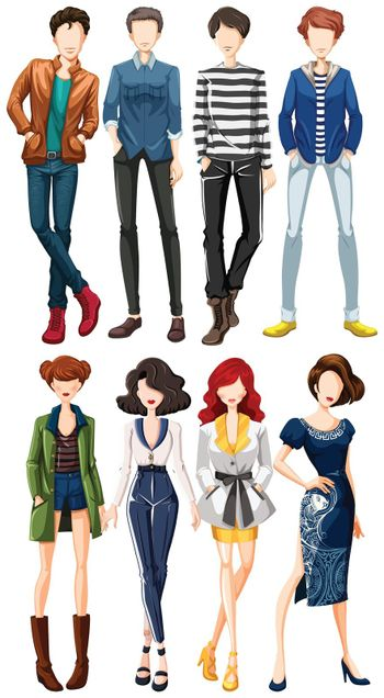 Collection of male and female fashion clothing