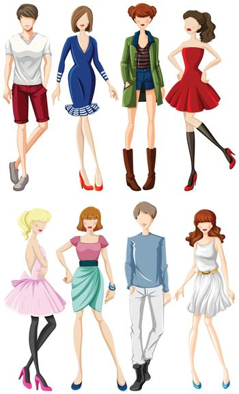 Group of male and female models wearing casual clothes