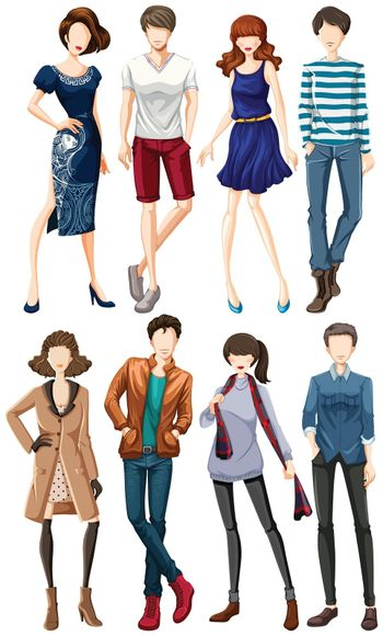 Male and female models in fashionable clothes