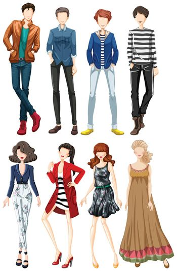 Collection of fashion clothes both male and female