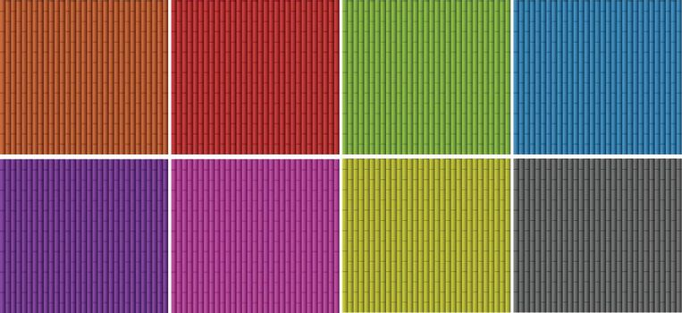 Bamboo texture in different colors illustration