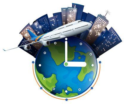 Plane travel around the world illustration