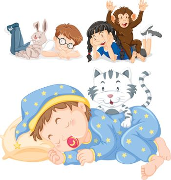 Children and their pets illustration
