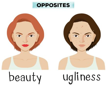 Opposite words for beauty and ugliness illustration