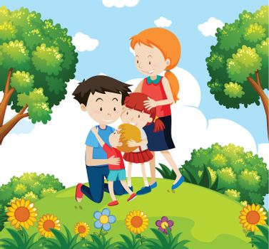 A family at the garden illustration