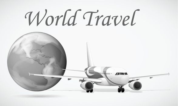 World travel with airplane and world illustration