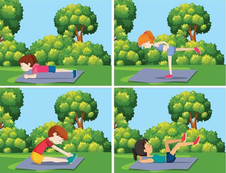 A set of yoga training in nature illustration