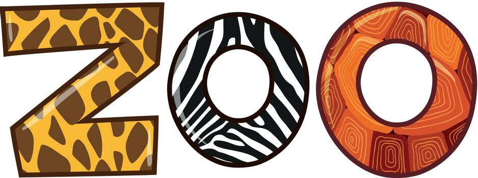 Word zoo with different animal skin texture illustration