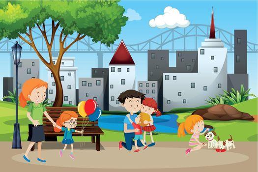 Family in the park illustration
