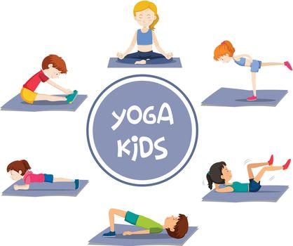 Yoga kids actvities on white illustration