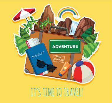 Travel object logo template illustration