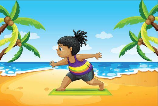 Girl doing yoga on beach illustration