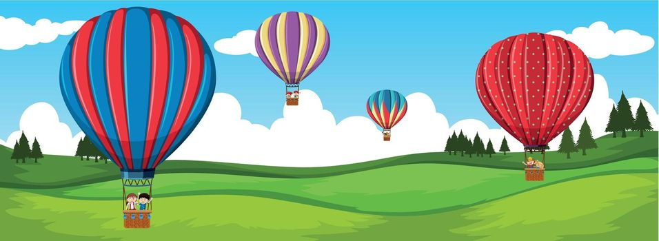 Travel by hot air balloon illustration