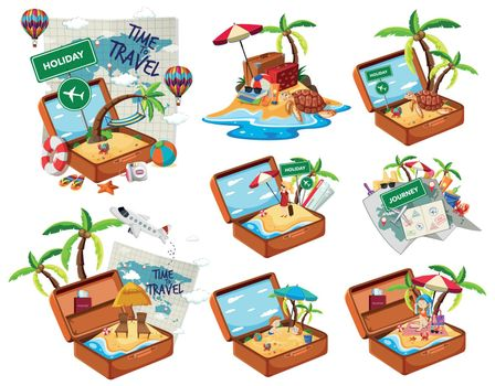 Set of beach in the travel luggage illustration